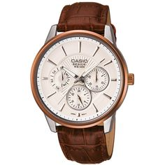 Casio Beside Rose Gold Tone White Dial Day Date Quartz Brown Leather Strap Limited Edition Casio G Shock Watches, Casio Watch, Radio Controlled Watches, Casio Protrek, Fashion Watches, Chronograph, Watches For Men, Quartz, Rose Gold
