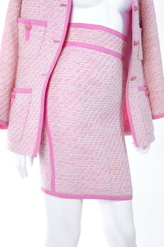 Chanel Suit in Pink and Creme Documented | From a collection of rare vintage suits, outfits and ensembles at https://www.1stdibs.com/fashion/clothing/suits-outfits-ensembles/