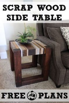 DIY Scrap Wood Side Table -    Check out this awesome side table  built from scrap wood. See the free tutorial on how to build your own!