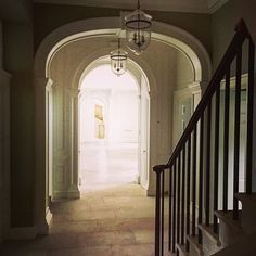The back stairs, Fawley House.... Simple regency iron and stone stair meets early Georgian panelling, with a view to the grand hall.  #symm @rupertcunningham