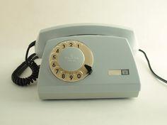 Vintage Polish rotary telephone grey by ArtmaVintage.