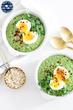 More Taste, Less Waste: Savory Green Oatmeal - Nutrition Happens Oatmeal Nutrition, Broccoli Puree, Savory Oatmeal, Healthy Meals, Healthy Recipes, Vegetable Puree, Create A Recipe, Delicious Breakfast Recipes, A Food