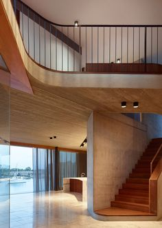 This modern house has board-formed concrete details that add texture to the interior. Residential Interior Design, Contemporary Interior Design, Residential Architecture, Interior Architecture, Brisbane Architects, Halls, Luxury Boat, Art Deco Home, Courtyard House