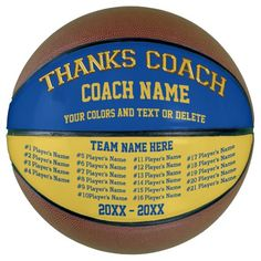 Coach Gifts Basketball Your COLORS, 8 Text Boxes