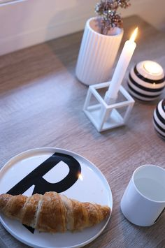 Cozy breakfast at dusk with products from Design Letters, By Lassen, Lyngby Porcelen and DrLykke.