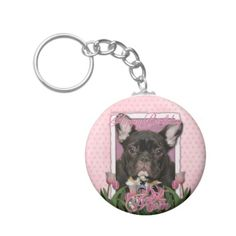 Happy Birthday Mom - French Bulldog - Teal Key Chains