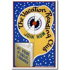Vacation Reading Club, Iowa Vintage Reproduction, WPA Poster