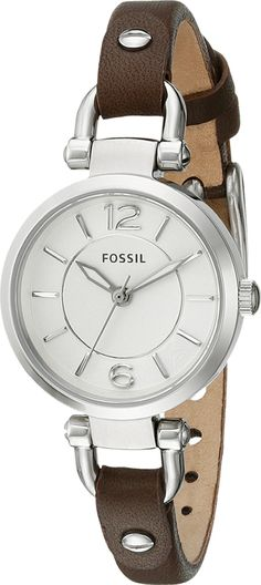 70381735e2ab Fossil Women s ES3861 Georgia Three-Hand Watch with Dark Brown Leather Band