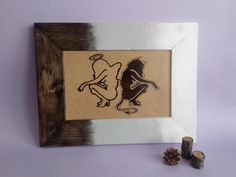 Wood Burning Art, Wood Painting, Angel and Demon, Handmade Wood Art, Pyrography Art, Framed Painting