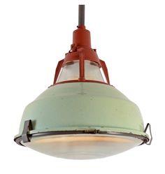 Mint-Green Enamel Industrial Pendant c1960  Quantities Available