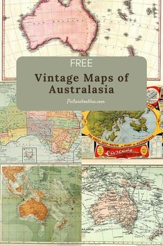 Free vintage maps of Australasia all in the Public Domain. The maps of this region include Australia, New Zealand and New Guinea. Old Maps, Antique Maps, Vintage World Maps, Books Australia, Australia Country, Printable Maps, Free Printable, Printables, Map Crafts