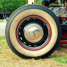 Redline Wide White Wall Tire mounted on a '29 Ford Roaster Hot Rod square format photograph by Jason Freedman.