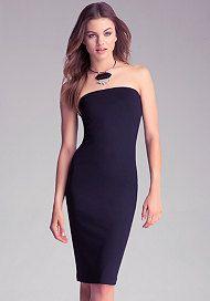 Strapless Solid Midi Dress