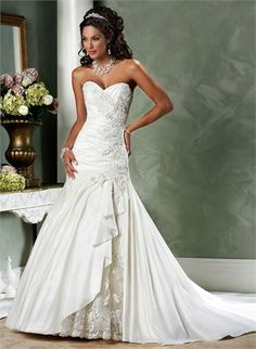 A-line V-neck With Lace Appliques Taffeta Satin Wedding Dress WD1710