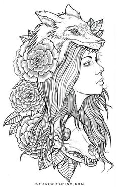 Afbeeldingsresultaat voor woman with wolf headdress tattoo Wolf Tattoos, Head Tattoos, Animal Tattoos, Body Art Tattoos, Tattoo Girls, Girl Tattoos, Tattoo Sketches, Drawing Sketches, Tattoo Drawings