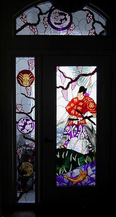 Custom stained glass door panels ~ La Mancha Glass Gardens
