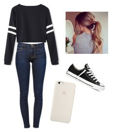 """""""going to your friends house"""" by marilyng341 ❤ liked on Polyvore featuring Frame Denim and Converse"""