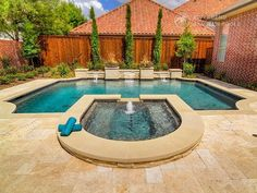 Riverbend Sandler Pools offers Geometric Pool Designs Dallas, Frisco and surrounding areas that homeowners can be proud of. Backyard Pool Landscaping, Backyard Pool Designs, Swimming Pools Backyard, Backyard Ideas, Patio, Rectangle Pool, Small Spa, Small Pool Design, Pool Builders