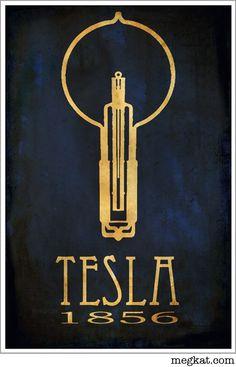 Nikola Tesla Steampunk Art Print Poster