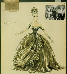 """Edith Head sketch for Grace Kelly's fancy-dress gown in Alfred Hitchcock's """"To Catch a Thief."""""""