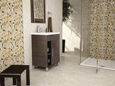 Mosaico en tonos tierra y dorado.