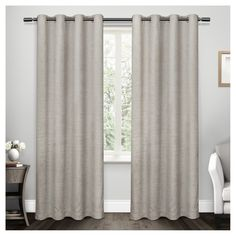 "Criss Cross Chenille Eyelash Grommet Top Window Curtain Panel Pair Light Gray (54""x96"") - Exclusive Home"