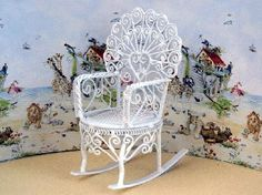 Peacock Rocking Chair (WW05) - White Wire Furniture. Over 10,000 similar dolls house miniature products available from www.thedollshousestore.co.uk
