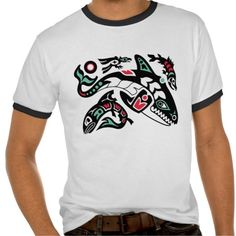 Orca Killer Whale Hunting - Haida-style Graphic T-shirt. What Would Captive Orcas Tell Us If They Could Talk? Empty the tanks!! Sick, horrific drilling of their teeth! Inbreeding. Orca. Killer whale. Captivity kills. Boycott marine parks. Get the facts. Protect our majestic oceans and sea life! Sustainable world!