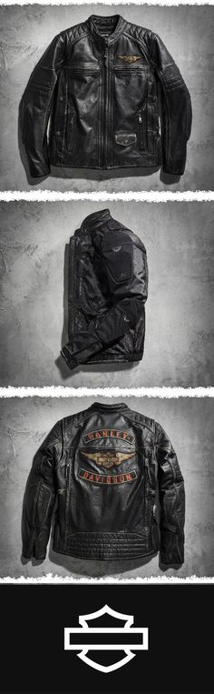 Explodes with exceptional style starting with the washed, vintage-look buffalo leather.   Harley-Davidson Men's Triple Vent System Detonator Distressed Leather Jacket