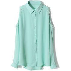Pearly Cut Out Shoulder Shirt in Mint Green ($36) ❤ liked on Polyvore featuring tops, chicwish, shirts, cut-out shoulder tops, green top, cold shoulder shirt, open shoulder top and cut out shoulder top