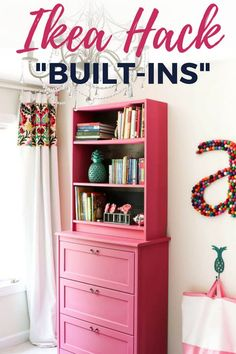 This IKEA Billy bookcase hack is as pretty as it is functional! Learn how to use basic IKEA pieces to create built-ins with loads of storage and style. Perfect in bedrooms for kids and easily customizable! Ikea, Furniture Makeover Diy, Bookcase, Ikea Billy Bookcase Hack, Diy Home Decor, Ikea Hack Living Room, Ikea Hack Storage, Diy Furniture, Home Furniture