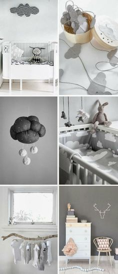 A cotemporary baby bedroom in grey&white_So cute ! Baby Bedroom, Baby Boy Rooms, Baby Boy Nurseries, Nursery Room, Kids Bedroom, Baby Room Grey, Nursery Decor, Clouds Nursery, Baby Blue