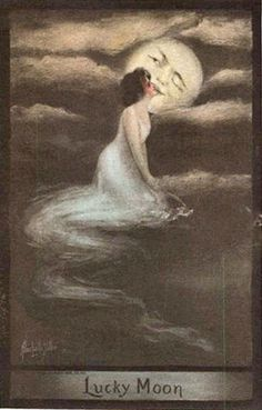 """Lucky Moon"" - Postcard, 1909 - Illustration by Alice Luella Fidler"