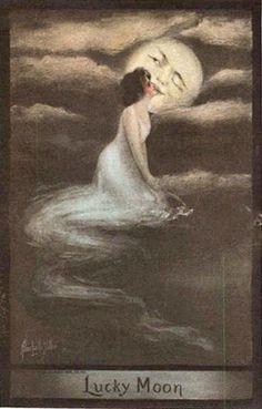 """Lucky Moon"" - Postcard, 1909 - Illustration by Alice Luella Fidler"