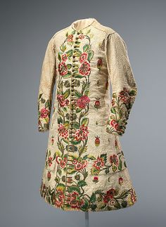 Waistcoat, British, early 18th century, linen, silk, metallic thread, MET