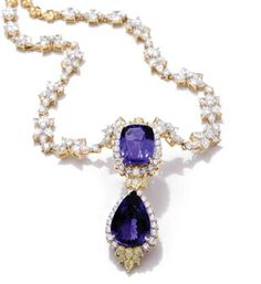 Farah Khan gold necklace featuring diamonds and amethyst.