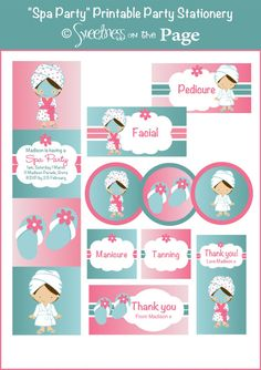 Spa Party Customised Printable Party Package including Invitation / Buffet Labels / Swing Tags