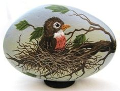 Hand painted rock-Baby robin in nest-Spring-Winenger (02/21/2011)