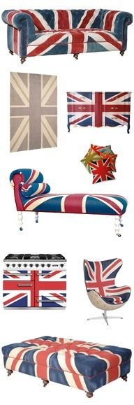 Union Jack decor -- I want the chaise lounge.
