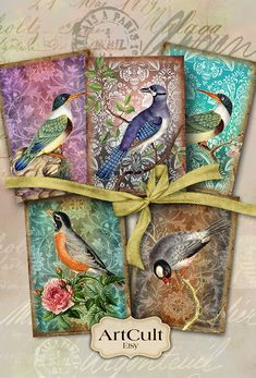 EXOTIC BIRDS  Digital Collage Sheet Printable Download by ArtCult
