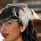 Feather and Chiffon Floral Wedding Hair Accessory - # weddings # viel # birdcage # hair accessory