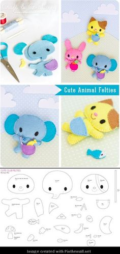 3 felt animals patterns