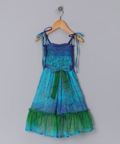 Take a look at this Blue Dip-Dye Smocked Dress - Toddler & Girls by Hawaiian Luau: Kids' Apparel & Shoes on @zulily today!