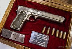 A Colt 1902 that belonged to Bonnie Parker (of Bonnie and Clyde fame). The 1902 was a variant of the Colt 1900, both chambered in .38 ACP.