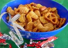 """Chex Mix My Way. """"I use Crispex cereal because it both rice and corn Chex so I only have to buy one box to make the mix. I also have increased the 'sauce' by about 50% compared to the original Chex Mix recipe for a little added zip. We have come to prefer double seasoning. Those amounts are in the parenthesis."""" Author: Marg (CaymanDesigns)"""