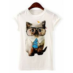 Kitten Print Round Collar Short Sleeve Cotton Casual Style Women's T-Shirt
