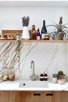 ESSENTIALS KITCHEN & PLUCK LONDON feature Creative Director Amy Powney's newly refurbished kitchen. #amypowney #kitchen #interiors Modern Kitchen Furniture, Victorian Townhouse, Plywood Cabinets, Amy, Essentials, Pretty Room, London House, Plant Shelves, Splashback