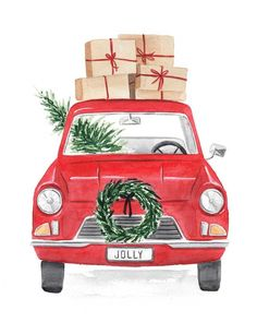 Vintage Red Car Stacked with Christmas Presents Fine Art | Etsy Christmas Car, Christmas Presents, Vintage Christmas, Christmas Crafts, Etsy Christmas, Xmas, Christmas Sayings, Christmas Print, White Christmas
