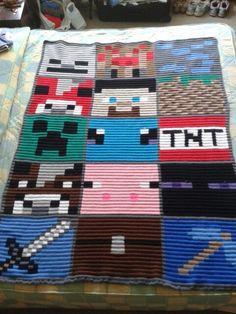 Crochet Game, C2c Crochet, Crochet For Boys, Afghan Crochet Patterns, Crochet Crafts, Sewing Crafts, Blanket Crochet, Minecraft Blanket, Minecraft Pattern