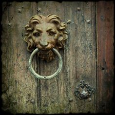 Antique lion head door knocker.